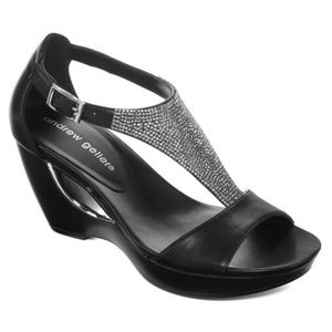 Black Wedge Sandals With Silver Sequence